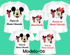 KIT CAMISETAS ANIVERSARIO MINNIE VERMELHA C/5