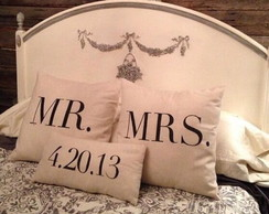 Almofadas Decorativas Mr. Mrs e Data