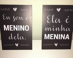 Kit com 2 Placas Decorativas Quarto de Casal