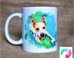 Pintura digital do seu pet + Caneca estampada