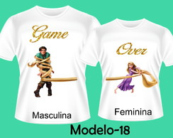 KIT CAMISETAS PARA CASAL GAME OVER NAMORADOS PERSONALIZADAS