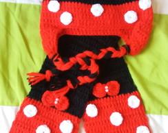 Touca e Cachecol em Croche Kids Minnie  ad6ddb0a01a