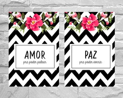 Kit 2 Placas Decorativas Quarto de Casal Amor & Paz