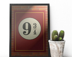 Quadro Decorativo Harry Potter Plataforma 9 3/4 33x23 cm