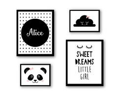 Poster Infantil - Sweet Dreams Little Girl + Panda + Nuvem