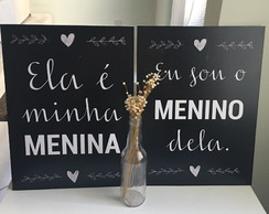 Kit 2 Placas Decorativas Quarto de Casal 30x40cm