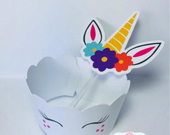 Kit wrappers + toppers para mini cupcakes Unicornio