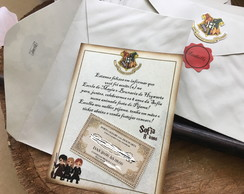 Convite Harry Potter carta de Hogwarts