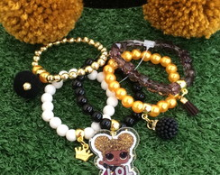 KIT LOL Queen Bee byvic Tiara Pompom G + mix pulseiras