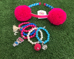 KIT LOL Teacher's Pet byvic Tiara Pompom + mix pulseiras