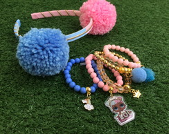 KIT LOL Sugar byvic Tiara Pompons G + mix pulseiras
