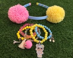 KIT LOL Bon Bon byvic Tiara Pompom G + mix pulseiras
