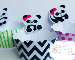 Kit wrappers + toppers para mini cupcakes Panda