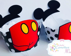 Kit wrappers + toppers para mini cupcakes Mickey