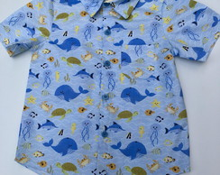 Camisa fundo do mar azul