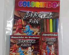 Kit de colorir + canetinha 6 cores + massinha 6 cores +2 mol