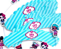 Kit wrappers + toppers para mini cupcakes LOL