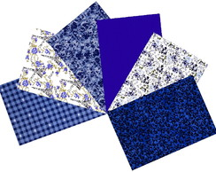 Kit Tecidos Azul Royal Patchwork 25x35