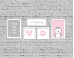 Kit quadros infantil be happy little one