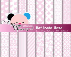 BATIZADO ROSA papel digital para scrapbook