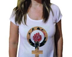 Camiseta Feminina Afro black power color - 21 camiseteria