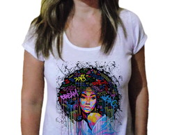 Camiseta Feminina Afro Black Power graffiti- 21 Camiseteria