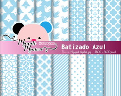 BATIZADO AZUL papel digital para scrapbook
