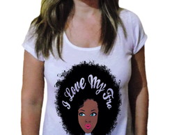 Camiseta Feminina Afro love black power - 21 Camiseteria