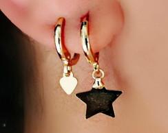 ... Argolinha Com Pingente De Estrela Folheada Em Ouro 18k ae15fb28ea