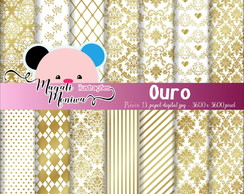 OURO Papel digital para scrapbook