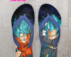 Chinelo Dragon Ball Super Goku e Vegeta Super Sayajin Blue