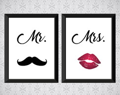 Kit 2 Quadros - Mr. e Mrs. - Casal - 30x40cm