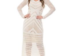 266407ecc ... Vestido Longo Feminino Tricot Tricô Decote V Off-White 05013