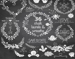 Kit Digital Laurels Frames Chalkboard