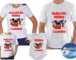 Kit Camisetas Aniversario Mickey Minnei c/4
