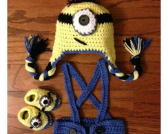 roupa do minions de croche newborn