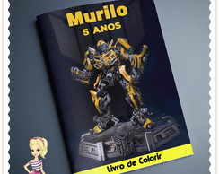 Kit Livro de Colorir + giz -Transformers