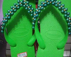 Chinelo havaianas top decorado verde