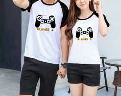 2 Camisetas Raglan - Video Game Player 1 e Player 2