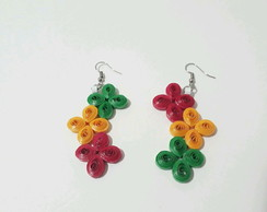 Brinco quilling flores n1