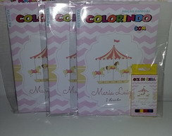 Kit revistinha de colorir + giz Carrossel Encantado