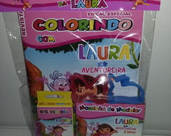 Kit Revistinha de color+Giz Cera+Massinha Dora Aventureira