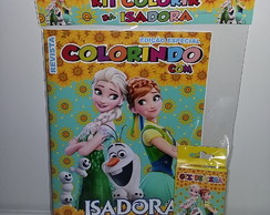 Kit revistinha de colorir + giz Frozen Fever