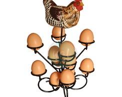 f7d3f16cd50 ... Porta ovos rustico em ferro e madeira com galinha artesanal