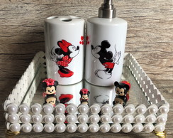 Kit Saboneteira & Porta Escovas Mickey & Minnie In Love