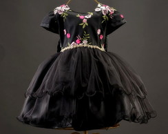 Vestido Luxo Black in Flowers
