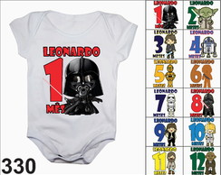 Kit body mesversario star wars personalizado nome 12 boris