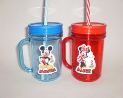Caneca Mason Jar de 400ml Mickey e Minnie