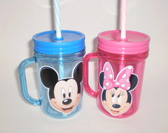 Caneca Acrílica Mason Jar de 400ml Mickey e Minnie Rosa