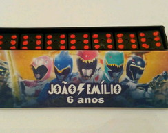 DOMINO PERSONALIZADO POWER RANGERS DINO CHARGE